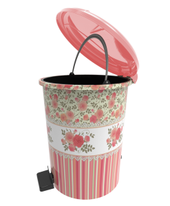 Poza Cos gunoi decorat cu pedala 6 litri roz
