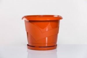 Poza  Ghiveci rotund cu farfurie diam. 14cm,h13cm, 1 litru terracota